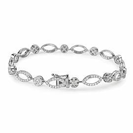 Cluster Floral Diamond Bracelet in 18K White Gold (2.69 CTW)