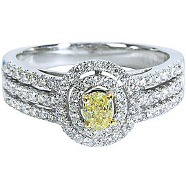 Yellow Diamond Ring in 14K White Gold (1 CTW)