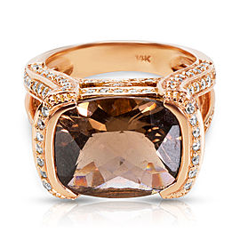 Diamond and Smokey Quartz Fashion Ring in 14K Rose Gold (0.98 CTW)