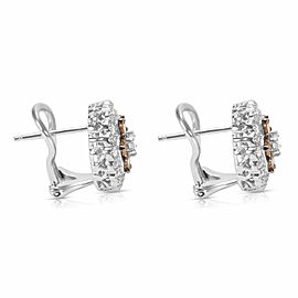 White & Brown Diamond Flower Earrings in 14k White Gold (2.00 CTW)
