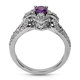 Diamond & Amethyst Pear Ring in 14k White Gold (0.50 CTW)