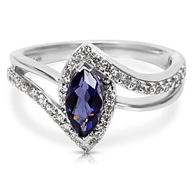 Diamond & Iolite Marquise Ring in 14k White Gold (0.48 CTW)