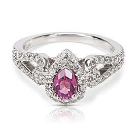 Diamond Halo Pink Rhodolite Garnet Ring in 14KT White Gold