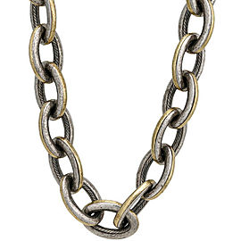 Gurhan Galahad Two Tone Oval Link Necklace in Sterling Silver MSRP 9,275