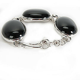 BRAND NEW Di Modolo Black Agate Bracelet in Plated Rhodium MSRP 400