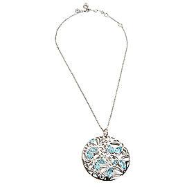 BRAND NEW Di Modolo Blue Quartz Necklace in Plated Rhodium MSRP 1275