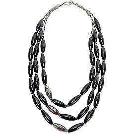 Di Modolo Black Agate Necklace in Sterling Silver MSRP 895