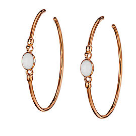 Di Modolo White Agate Hoop Earrings 18K Rose Gold Rhodium Plated MSRP 650