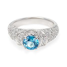 Diamond & Blue Topaz Ring in 18KT White Gold 1.80 ctw