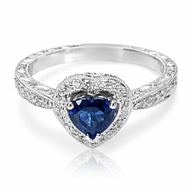 Fashion Ring in 18K White Gold with Sapphire Center and Diamonds