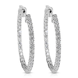 BRAND NEW In & Out Diamond Hoops in 14k White Gold (3.00 CTW)