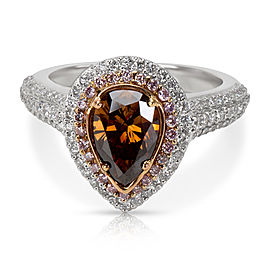 Halo Pear Shaped Brown & Pink Diamond Ring in 18KT Gold 2.09ctw