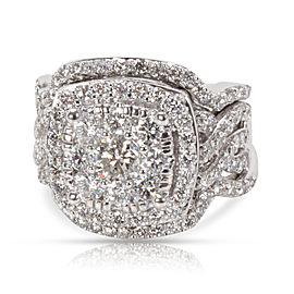 Diamond Cluster Wedding Engagement Set in 14KT White Gold H-1 SI2-I1 2.50 CTW