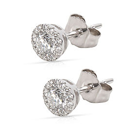 Diamond Halo Stud Earrings in 14K White Gold (1/2 CTW)