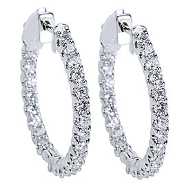 BRAND NEW Diamond Hoop Earrings in 14K White Gold (2.00 CTW)