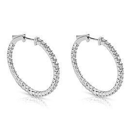 BRAND NEW Diamond Hoop Earrings in 14K White Gold (1.86 CTW)