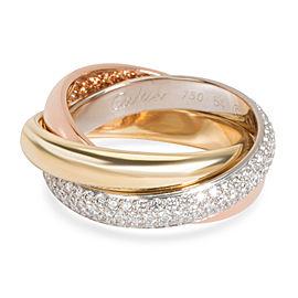 Cartier Trinity Classic Diamond Ring in 18K 3 Tone Gold 0.99 CTW