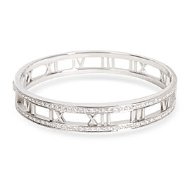 Tiffany & Co. Atlas Open Hinged Diamond Bangle in 18K White Gold 1.50 CTW