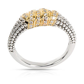 Lagos Caviar Beaded Diamond Ring in 18K Yellow Gold/Sterling Silver 0.20 CTW