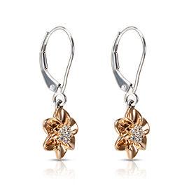 Diamond Daisy Drop Earrings in 14KT White & Rose Gold 0.10 ctw