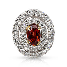 Diamond Halo Pendant with Oval Garnet Center (0.30 CTW)