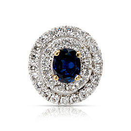 Sapphire & Diamond Double Halo Pendant in 18K Two-Tone Gold (0.27 CTW)