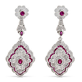 BRAND NEW Art Deco Diamond & Ruby Fashion Earrings in 18k White Gold (0.80 CTW)
