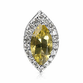 Diamond & Lemon Quartz Marquise Pendant in 14k White Gold (0.54 CTW)