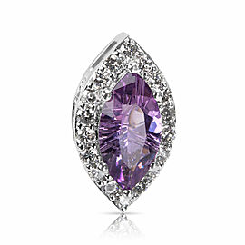 Diamond & Amethyst Marquise Pendant in 14k White Gold (0.54 CTW)