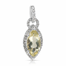 Lemon Quartz & Diamond Marquise Pendant in 14k White Gold (0.20 CTW)