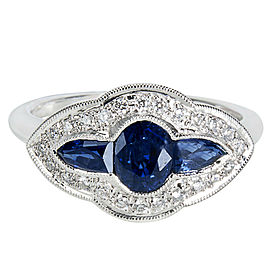 Sapphire & Diamond Ring in 18K White Gold (0.15 CTW)