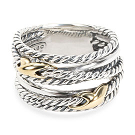 David Yurman Double X Crossover Ring in 18K Yellow Gold/Sterling Silver