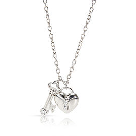 Tiffany & Co Heart Lock Key Charm Diamond Necklace in Platinum