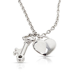 Tiffany & Co Heart Lock Key Charm Diamond Necklace in Platinum