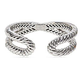 David Yurman Diamond Crossover X Cuff in Sterling Silver (1.50 CTW)