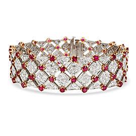 Tiffany & Co. Diamond & Ruby Bracelet in 18K Yellow Gold/Platinum 10.82 CTW