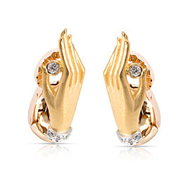 Carrera y Carrera Textured Hand Diamond Earrings in 18K Yellow Gold 0.1 CTW
