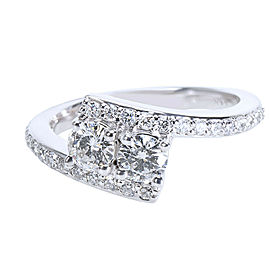 14KT White Gold Round Diamond Two Stone Ring 0.80 ctw