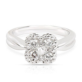 Van Cleef & Arpels Clover Perlee Diamond Ring in 18K White Gold 0.4 CTW