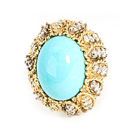 Vintage Turquoise & Diamond Cocktail Ring in 16K Yellow Gold 3.00 ctw