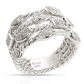 David Yurman 4 Row Confetti Diamond Ring in Sterling Silver 0.23 CTW