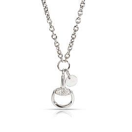 Gucci Horsebit Diamond Necklace in 18K White Gold 0.33 CTW