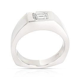 GIA Certified Emerald Cut Diamond Men's Ring in Platinum I VVS1 1.01 CTW
