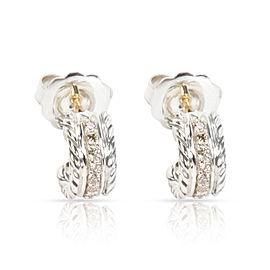 David Yurman Diamond Cable Hoop Earrings in Sterling Silver (0.20 CTW)