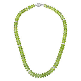 Peridot Bead Necklace in 18K White Gold with Diamonds (22.00 CTW)