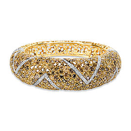 BRAND NEW Fancy Yellow Diamond Encrusted Bangle in 18K Yellow Gold 35.32 ctw