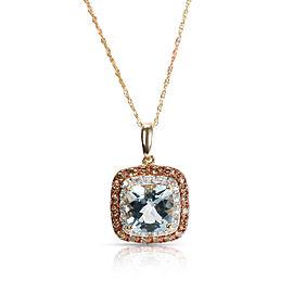BRAND NEW Aquamarine & Diamond Pendant in 14K Yellow Gold 1.94ctw