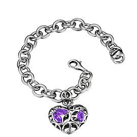 Di Modolo Amethyst Charm Bracelet Rhodium Plated Sterling Silver