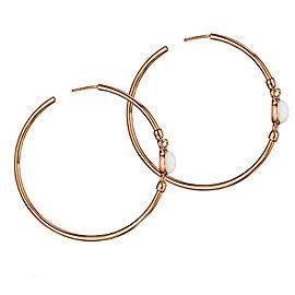 Di Modolo White Agate Hoop Earrings 18K Rose Gold Rhodium Plated MSRP 650