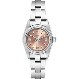Rolex Oyster Perpetual 24mm Salmon Dial Steel Ladies Watch 76030